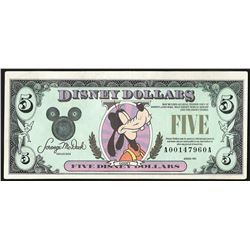 1990 $5 Disney Dollars Note