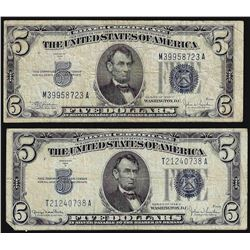 Lot of (2) 1934C $5 Silver Certificate Notes