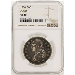 1836 Capped Bust Half Dollar Coin O-103 NGC VF30
