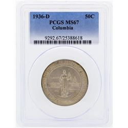 1936-D Columbia Commemorative Half Dollar Coin PCGS MS67