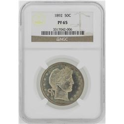 1892 Barber Half Dollar Proof Coin NGC PF65