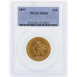 1893 $10 Liberty Head Eagle Gold Coin PCGS MS62