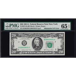 1981A $20 Federal Reserve Note Mismatched Serial Number ERROR PMG Gem Unc. 65EPQ