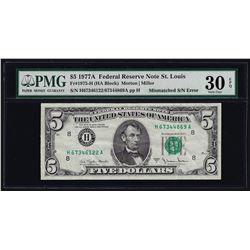 1977A $5 Federal Reserve Note Mismatched Serial Number ERROR PMG VF30 EPQ