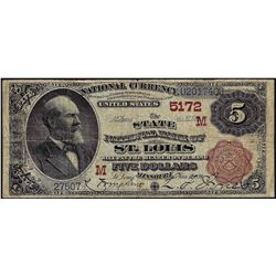 1882 $5 Brown Back St. Louis National Currency Note CH# 5172