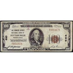 1929 $100 The Farmers Deposit National Bank of Pittsburgh PA National Note CH# 6