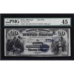 1882 $20 Paris Missouri National Currency Note CH# 5794 PMG Choice Extremely Fin