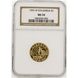 1992-W $5 Columbus Commemorative Gold Coin NGC MS70