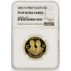 2003-W $10 First Flight Centennial Gold Coin NGC PF69