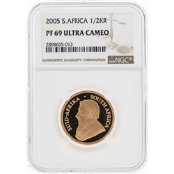 2005 South Africa 1/2 Krugerrand Fine Gold Coin NGC PF69 Ultra Cameo