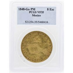 1848-Go PM Mexico 8 Escudos Gold Coin PCGS VF35