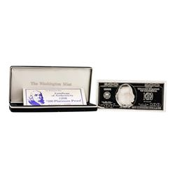 1998 $100 Washington Mint 4 oz. .999 Fine Silver Bar w/ Box COA