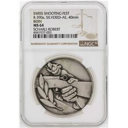 Swiss Shooting Fest Bern Silvered 40mm Medal NGC MS64