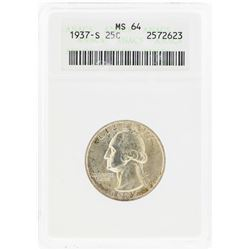1937-S Washington Silver Quarter Coin ANACS MS64