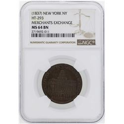 1837 New York Merchants Exchange Hard Times Token HT-293 NGC MS64BN