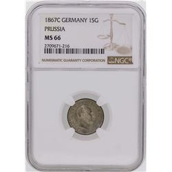 1867C Germany 1 Silber Groschen Prussia Coin NGC MS66