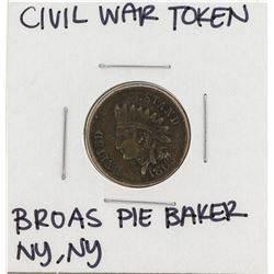 1863 Civil War Token Broas Brothers Pie Baker New York, New York