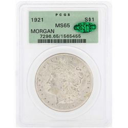 1921 $1 Morgan Silver Dollar Coin PCGS MS65 CAC