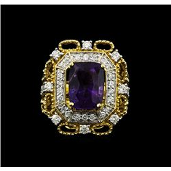 14KT Two Tone Gold 4.87ct Purple Sapphire and Diamond Ring