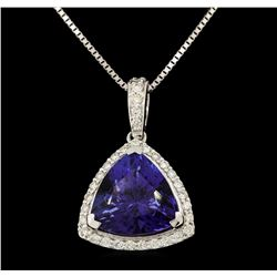 Platinum 6.78ct GIA Certified Tanzanite and Diamond Pendant with Chain