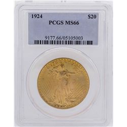 1924 $20 Saint Gaudens Double Eagle Gold Coin PCGS MS66