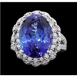 18KT White Gold 12.01ct Tanzanite and Diamond Ring