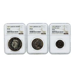 1937 Great Britain (3) Coin Proof Set NGC PF64/PF65/PF66
