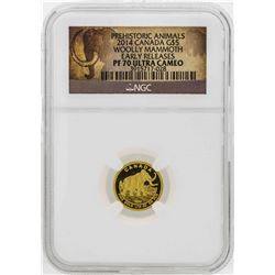 2014 Canada $5 Woolly Mammoth Gold Coin Early Releases NGC PF70 Ultra Cameo