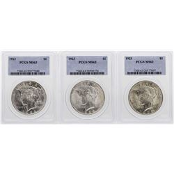 Lot of (3) 1923 $1 Peace Silver Dollar Coins PCGS MS63