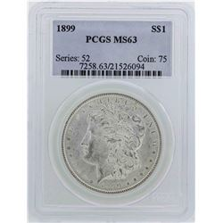 1899 $1 Morgan Silver Dollar Coin PCGS MS63