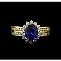18KT Yellow Gold 2.65ct Sapphire and Diamond Ring