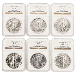 Set of 1986-1991 $1 American Silver Eagle Coins NGC MS69