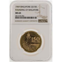 1969 Singapore $150 Founding of Singapore Gold Coin NGC MS65