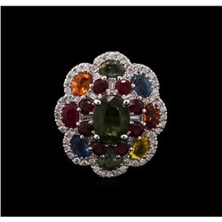 14KT White Gold 7.21ctw Multi Gemstone and Diamond Ring