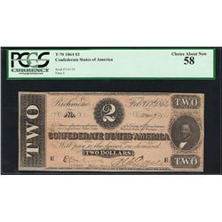 1864 $2 Confederate States of America Note T-70 PCGS Choice About New 58