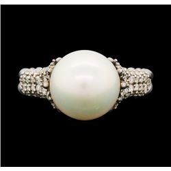 David Yurman .925 Silver 0.40ctw Diamond and Pearl Ring