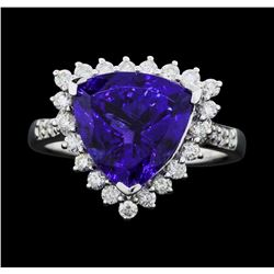 Platinum 5.16ct Tanzanite and Diamond Ring