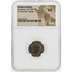 AD 284-305 Roman Empire Diocletian AE Post -Ref Radiate NGC VG