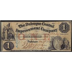 1857 $1 The Dubuque Central Improvement Company Obsolete Bank Note