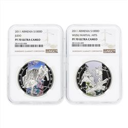 Set of (2) 2011 Armenia 1000 Dram Wusu Martial Arts Silver Coins NGC PF70 Ultra