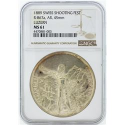 1889 Swiss Shooting Fest R-867a AR 45mm Luzern Coin NGC MS61