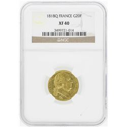 1818L France 20 Francs Gold Coin NGC XF40