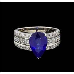 18KT White Gold 4.57ct Sapphire and Diamond Ring
