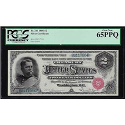 1886 $2 Hancock Silver Certificate Note Fr. 241 PCGS Gem New 65PPQ