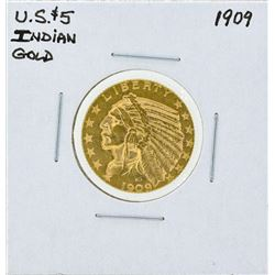 1909 $5 Indian Head Half Eagle Gold Coin