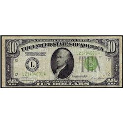 1928B $10 Federal Reserve Note Light Green Seal