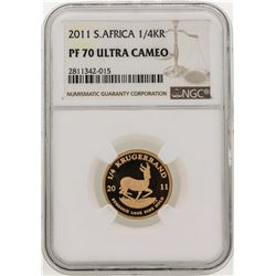 2011 South Africa 1/4 Krugerrand Gold Coin NGC PF70 Ultra Cameo