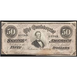 1864 $50 Confederate States of America Note