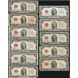 Lot of (11) 1928 $2 Legal Tender Notes