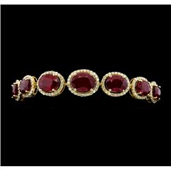 14KT Yellow Gold 37.85ctw Ruby and Diamond Bracelet